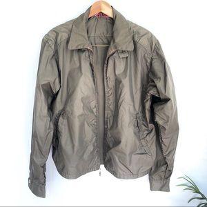 Vintage Army Green Zip-Up Windjacket